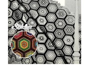 1930s Pinwheel Granny Square Afghan - Crochet pattern PDF 4611