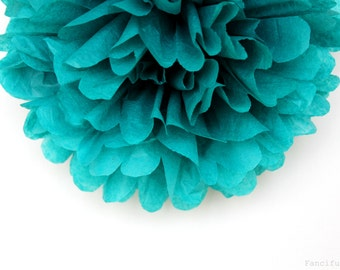 Teal Tissue Paper Pom Poms- Wedding, Birthday, Bridal Shower, Baby Shower, Party Decorations, Garden Party