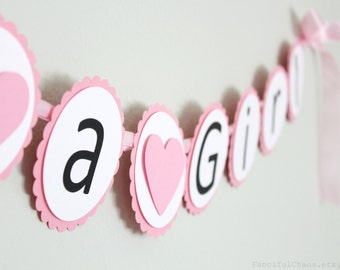 Its a Girl Pink and White Paper Banner Bunting Heart Garland- Girl Baby Shower, Announcement Party Decorations, Nursery Bedroom