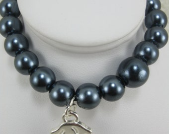 Midnight Blue Bracelet Pearl Bracelet Glass Crystal Pearl Bracelet Charm Bracelet Handmade Handcrafted Jewelry Trendy Bracelet