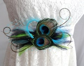 FRANCESCA naturel et Turquoise Peacock Feather mariage mariée Sash