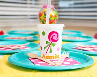 5 Personalized Candy Themed Party Favor cups with lids and straws