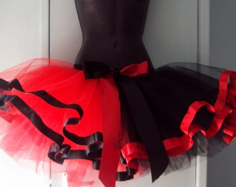 Red  Black Harlequin tutu skirt Burlesque size U.S. 4 - 10 U.K. 6 - 12