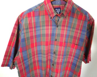 90s GAP Plaid Shirt Mens Vintage Red and Blue Short sleeved Office work size media 1990 Normcore Summer school fall autumn