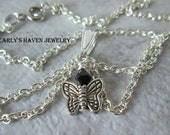 silver butterfly charm necklace with black glass bead, handmade, ready to ship, gifts for kids, gifts for children