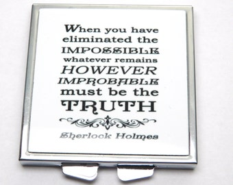 "Sherlock Holmes ""Eliminate the impossible...."" Compact Mirror, Literary Quote Mirror, Book Mirror  UK"