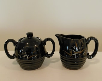Brown Glazed Red Clay Sugar Bowl and Creamer with Painted design