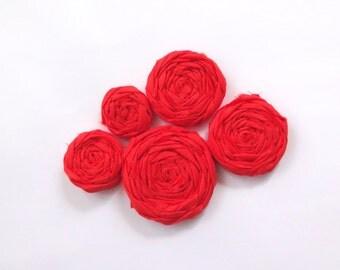 Orange Fabric Rosettes Embellishment