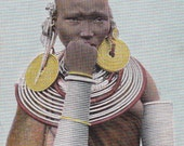 vintage German East Africa postcard -  Maasi woman from Meru, Tanzania - colorized photo - free shipping (205)