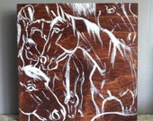 Beautiful Original horse painting on vibrant brown 8x8in wooden canvas