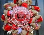 University of Oklahoma Burlap Wreath with Round Sooners Sign - Oklahoma Sooners Wreath - Burlap Collegiate Wreath