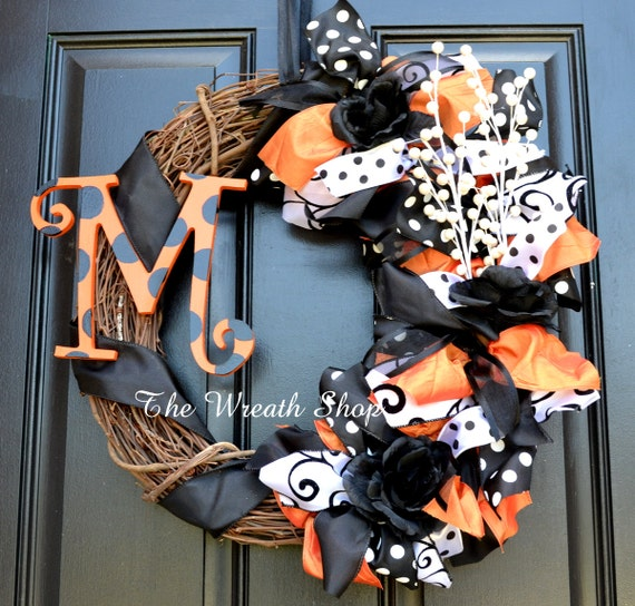 Black Flower And Crow Halloween Wreath: Monogram Halloween Wreath Orange And Black Halloween Wreath