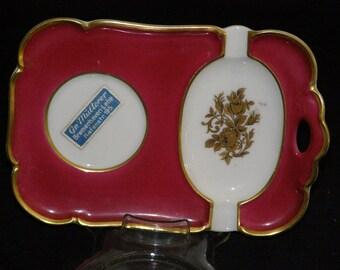 Vintage Ceramic Porcelain Bavaria Germany Cigarette Tray 24k Gold Trim Tirschenreuth Makers Mark PT with Crown