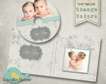 CD/Dvd Label PHOTOSHOP TEMPLATE  - dvd Case & Label Damask Dots