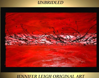 Original Large Abstract Painting Modern Contemporary Canvas Art Red Black Orange White UNBRIDLED  36x24 Palette Knife Texture Oil J.LEIGH