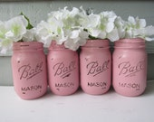 Painted and Distressed Ball Mason Jars- Pale/Pastel Pink -Set of 4-Flower Vases, Rustic Wedding, Centerpieces
