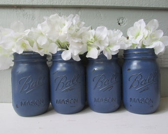 Painted and Distressed Ball Mason Jars- Navy Blue-Set of 4-Flower Vases, Rustic Wedding, Centerpieces