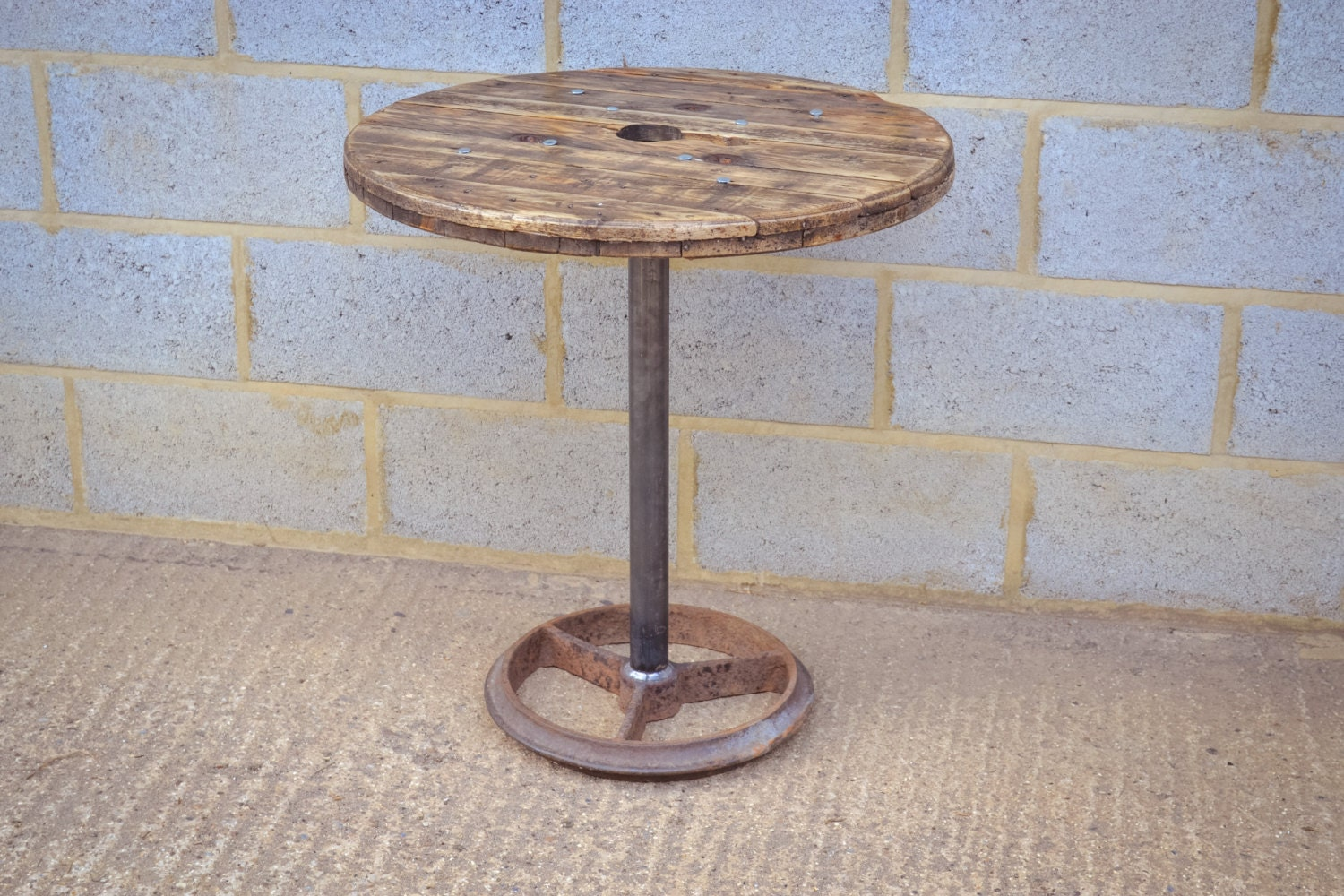 Upcycled cable reel coffee or dining table on by for Upcycled dining table