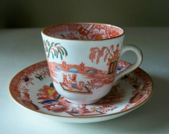 Vintage tea Cup and Saucer Oriental Design