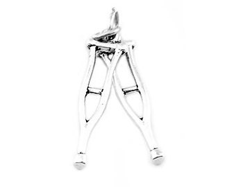 Sterling Silver Pair of Medical Crutches Charm (3d Charm)