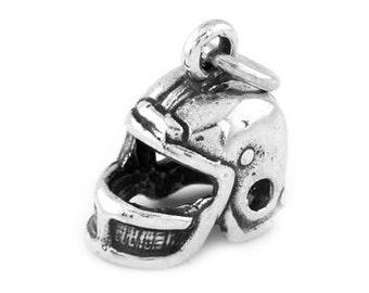 Sterling Silver Football Players Helmet Charm (3d Charm)