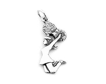 Sterling Silver Jumping Cheerleader Charm (Flat Back Charm)