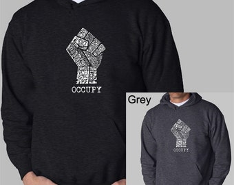 """Men's Hooded Sweatshirt - Occupy Wall Street - Fight The Power - Created using the words """"Fight The Power"""""""