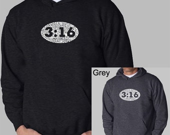Men's Hooded Sweatshirt - Created using the verse John 3:16