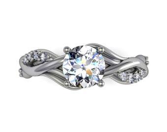Diamonds  moissanite engagement ring, style 123WDM