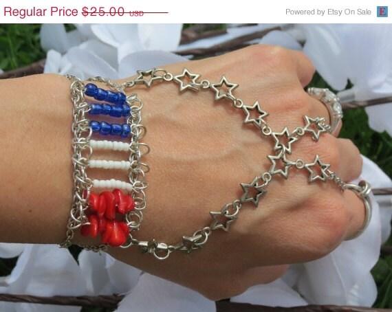 Sized American Slave Bracelet, Ring Bracelet, Red, White, Blue,Flag Bracelet, Patriotic Jewelry, Patriotic Bracelet, Star, Hand Jewelry,Siz