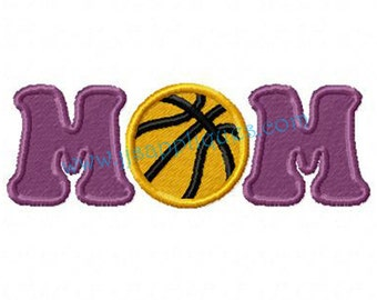 Basketball MOM Embroidery Applique Design  - Basketball MOM Applique for the 4x4, 5x7, 6x10 hoops - Instant Download