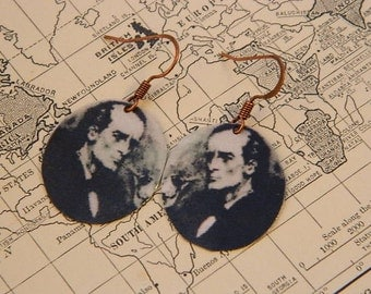 Sherlock Holmes earrings Sherlock Holmes jewelry mixed media jewelry Arthur Conan Doyle