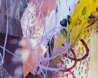 Brushstrokes Mixed Media Painting, Abstract Collage, Dusky Pink, Amethyst, Goldenrod Yellow