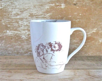 Ozma and Dorothy Mug, A heart is not judged, how much you are loved, Wizard of Oz, Ozma Dorothy Kiss, L Frank Baum Quote, 14 oz Coffee Cup