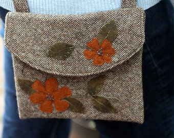 Brown Tweed Wool Applique Purse, Small Messenger Bag, One of a Kind