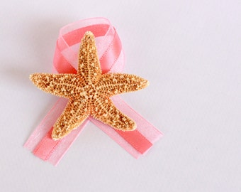 Coral Beach Wedding Boutonniere with Starfish