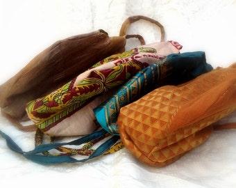 Japa Mala Chanting Prayer Bags Hand Made From Recycled Saris Set of Four From Vrindavan JMPB04