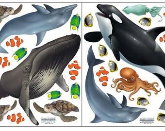 Ocean Wall Decals Undersea Animal Life Room Stickers