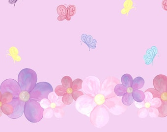 Pastel Flowers & Butterfly Wall Decals