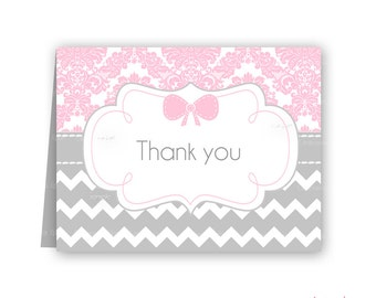 Baby Shower thank you cards Printable damask pink and grey