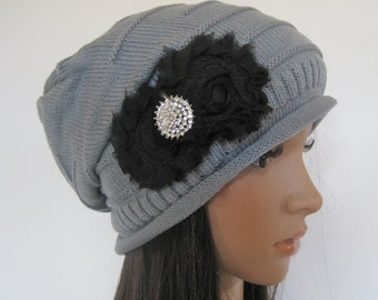 Grey Knit Slouch Beanie Winter Hat with Black Chiffon Flowers and a Gorgeous Rhinestone Accent
