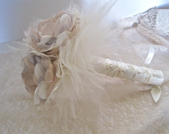 Three Flower Ivory Champagne and Grey Brooch Bouquet Bridesmaid Flower Girl Mother of the Bride Toss Away with Ivory Lace and Tulle
