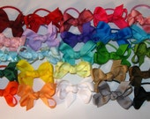 Made to order, you choose SOLID ribbon colors...6 mini boutique style hairbows on clip, barrette, or ponytail holder. infant, baby, toddler