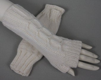 Beautiful hand knitted mittens. Fingerless long gloves for ladies, available in many colours.