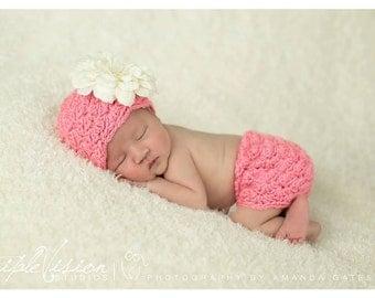 Newborn Little Lady Shell Lace Hat and Matching Skirt Photo Prop Set