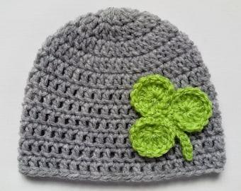 Crochet Baby Toddler Kids Hat, Beanie gray green
