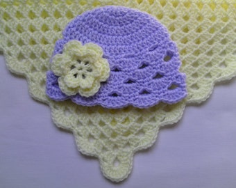 Crochet Baby Blanket and Baby Hat Set Gift Christening Baptism Girl baby beanie flower cream afghan