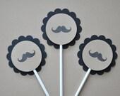 Mustache Cupcake Toppers - Stache Birthday, Little Man, Mustache March