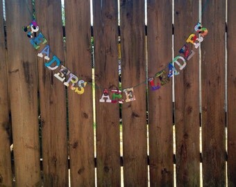 READERS ARE LEADERS Board Book Garland -- Sustainable Library Librarian Education Leadership School Upcycled Bunting Geek Chic Pages Teacher