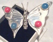 Mexican Brooch Butterfly Brooch Coral Chalcedony Vintage Jewelry